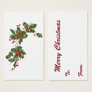 Vintage Christmas, Holly Plant with Red Berries Business Card