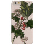Vintage Christmas, Holly Plant with Red Berries Barely There iPhone 6 Plus Case