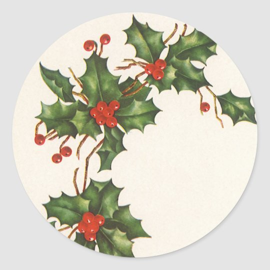 Vintage Christmas, Holly Plant with Red Berries Classic Round Sticker