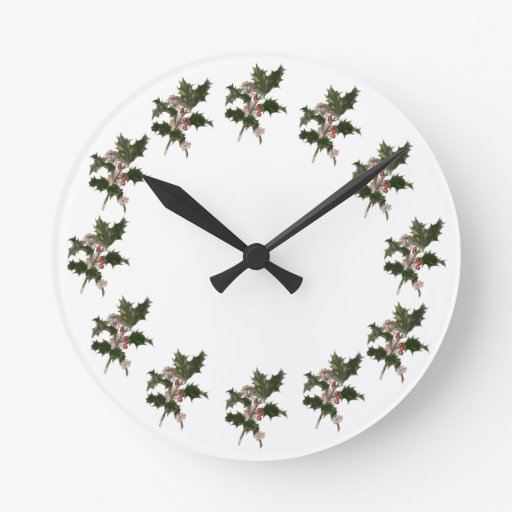 Vintage Christmas Holly Plant with Red Berries Wall Clock
