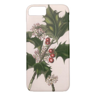 Vintage Christmas, Holly Plant with Red Berries iPhone 8/7 Case