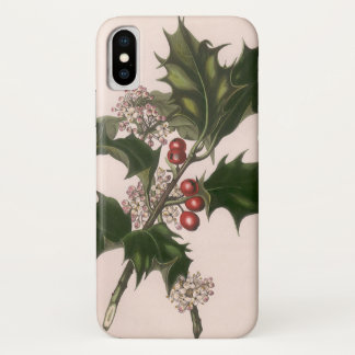 Vintage Christmas, Holly Plant with Red Berries iPhone X Case