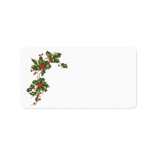 Vintage Christmas, Holly Plant with Red Berries Label