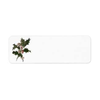Vintage Christmas Holly Plant with Red Berries Return Address Label