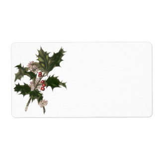 Vintage Christmas Holly Plant with Red Berries Labels
