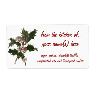Vintage Christmas Holly Plant with Red Berries Personalized Shipping Labels