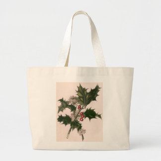 Vintage Christmas, Holly Plant with Red Berries Large Tote Bag