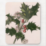 Vintage Christmas, Holly Plant with Red Berries Mouse Pad