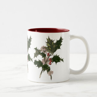 Vintage Christmas Holly Plant with Red Berries Coffee Mugs