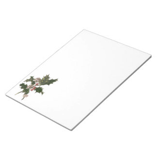 Vintage Christmas, Holly Plant with Red Berries Memo Note Pad