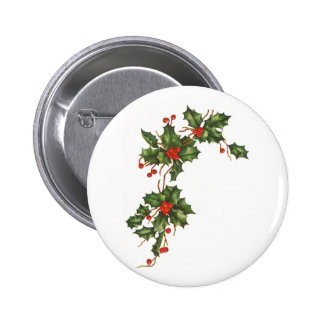 Vintage Christmas, Holly Plant with Red Berries Pinback Button