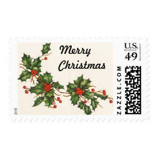 Vintage Christmas, Holly Plant With Red Berries Postage at Zazzle