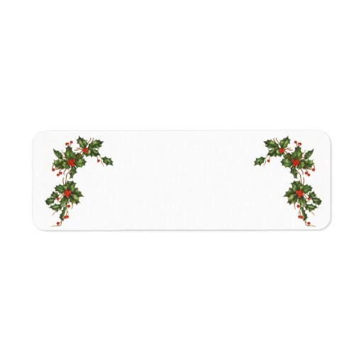 Vintage Christmas, Holly Plant with Red Berries Return Address Label