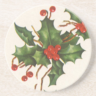 Vintage Christmas, Holly Plant with Red Berries Sandstone Coaster