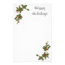 Vintage Christmas, Holly Plant with Red Berries Stationery