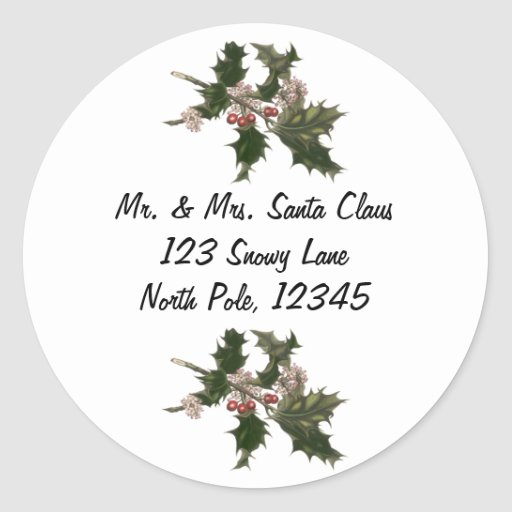 Vintage Christmas, Holly Plant with Red Berries Sticker