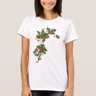 Vintage Christmas, Holly Plant with Red Berries T-Shirt