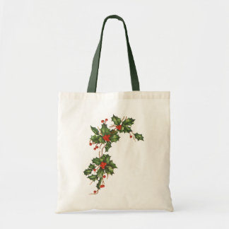 Vintage Christmas, Holly Plant with Red Berries Tote Bag