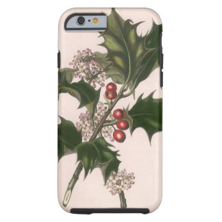 Vintage Christmas, Holly Plant with Red Berries Tough iPhone 6 Case