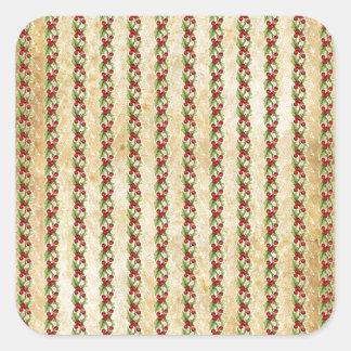 Vintage Christmas Holly Stripes Square Sticker