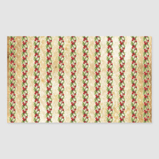 Vintage Christmas Holly Stripes Rectangular Sticker