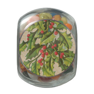 Vintage Christmas Holly Window Jelly Belly Candy Jars