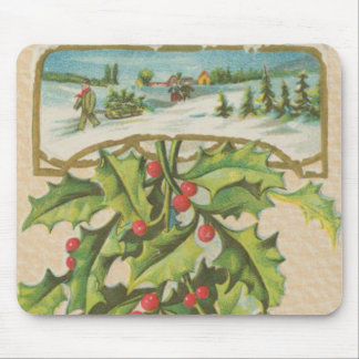 Vintage Christmas Holly Window Mouse Pad