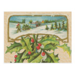 Vintage Christmas Holly Window Post Cards
