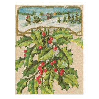 Vintage Christmas Holly Window Postcard