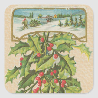 Vintage Christmas Holly Window Square Sticker