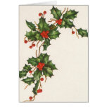 Vintage Christmas, Holly with Berries Card