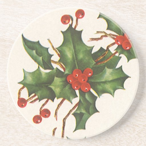 Vintage Christmas, Holly with Berries Beverage Coaster