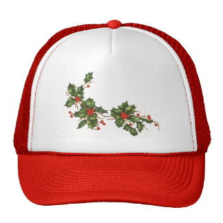 Vintage Christmas Holly with Berries Hat