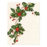 Vintage Christmas, Holly with Berries Post Cards