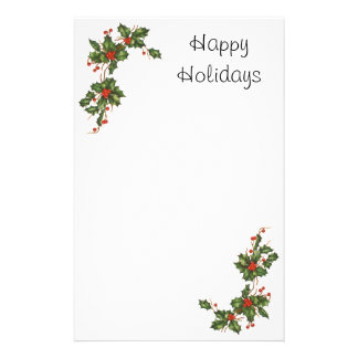 Vintage Christmas Holly with Berries Stationery Paper