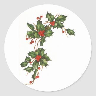 Vintage Christmas Holly with Berries Round Sticker