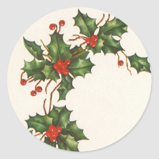 Vintage Christmas Holly with Berries Sticker