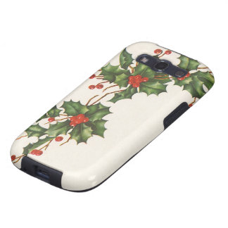 Vintage Christmas, Holly with Red Berries Galaxy SIII Case