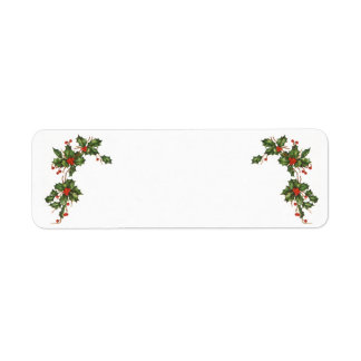 Vintage Christmas, Holly with Red Berries Return Address Label