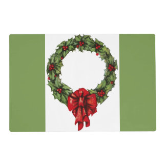 Vintage Christmas Holly Wreath and Berries Green Placemat