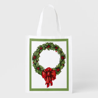 Vintage Christmas Holly Wreath and Berries Green Reusable Grocery Bag