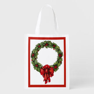 Vintage Christmas Holly Wreath and Berries Red Reusable Grocery Bags