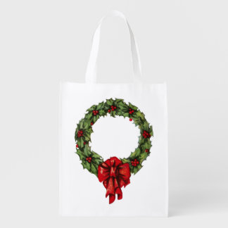 Vintage Christmas Holly Wreath and Berries White Reusable Grocery Bag
