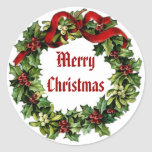 Vintage Christmas Holly Wreath with Red Ribbon Round Stickers