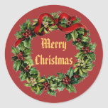 Vintage Christmas Holly Wreath with Red Ribbon V14 Sticker