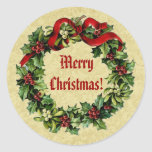 Vintage Christmas Holly Wreath with Red Ribbon V17 Sticker