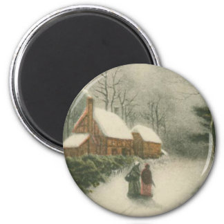Vintage Christmas Home with Snow Magnet