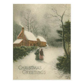 Vintage Christmas Home with Snow Postcard