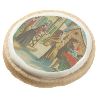 Vintage Christmas Homecoming Round Shortbread Cookie