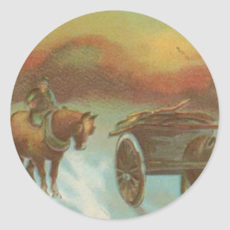 Vintage Christmas Horse Buggie Classic Round Sticker